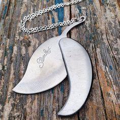 LEAF Pocket Knife Pendant Silver Leaf Groomsman by redtruckdesigns