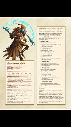 Clockwork Mage | Enemies Dungeons And Dragons 5e, Dungeons And Dragons Homebrew, Monster Characters, Dnd Characters, Dnd Stats, Dnd Races, Dnd 5e Homebrew, Dragon Rpg, Dnd Monsters