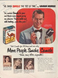 """Description: 1952 CAMEL CIGARETTES vintage print advertisement """"Vaughn Monroe"""" -- """"I've given Camels the test of time,"""" says Vaughn Monroe ... """"I've smoked Camels for years and they've never stopped giving me pleasure. They're mild and rich tasting -- pack after pack!"""" Test Camels for 30 days and see why More People Smoke Camels than any other cigarette! ... * Linda Darnell * Fred Fordham *  -- Size: The dimensions of the full-page advertisement are approximately 10.5 inches x 14 inches ..."""