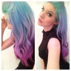 Purple blue rainbow hair- even though I would never do it, this is so cool. The eyebrows are a bitttt much.