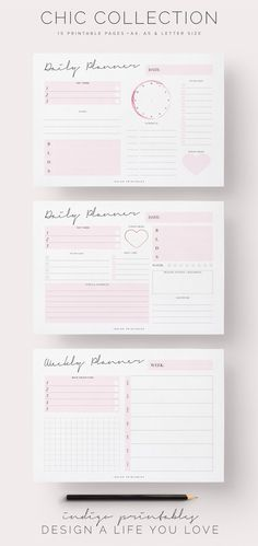 Chic Planner Pack, Printable, 15 Pages | Created by #IndigoPrintables