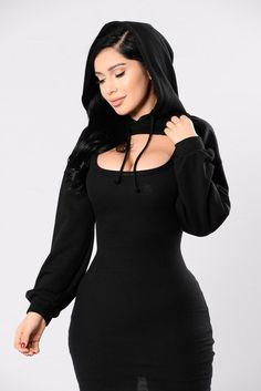 Available in Black and Mauve French Terry Cropped Top Hooded Long Sleeve Made in USA Polyester Cotton Hot Outfits, Girl Outfits, Fashion Outfits, Plus Size Activewear, Fashion 2017, Sexy Dresses, Woman Dresses, Black Tops, Dress Skirt