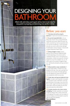 Graphic tile from Made a Mano chosen for walls and floors in this bathroom - available from Laurence Pidgeon laurencepidgeon.com Homes & Interiors Scotland May-June 2014