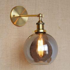 59.39$  Watch here - http://alijnu.worldwells.pw/go.php?t=32742556467 - RH American Country Vintage Wall Lamp Lights Fixtures Glass Ball Retro Loft Industrial Wall Sconces Wandlamp Arandela De Parede