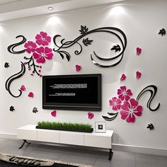 Free shipping 3D stereoscopic crystal acrylic wall stickers living room bedroom TV background home decoration XS: 0.9 * 0.45M