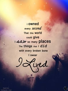 With every broken bone, I swear I lived.