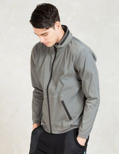 REIGNING CHAMP Grey Stretch Nylon Stow Away Hood Jacket Picture