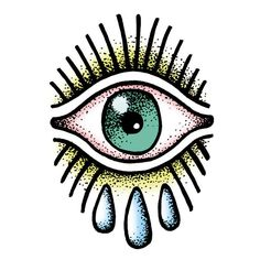Temporary Tattoo OJITO - Tattoonie / Premium Temporary Tattoos printed with vegetable-based inks. ( eye, old school, tears )