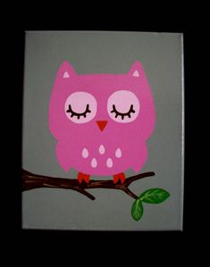 Owl Nursery Paintings Wall Decor Pink Grey by cathyscraftycovers