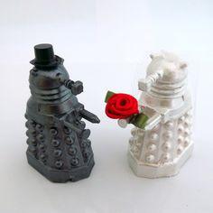 Doctor Who Cake Toppers, Gunmetal Grey Dalek Groom & Metallic White Bride,Geeky Wedding. $50.00, via Etsy.