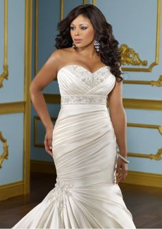fcd794a2a5c Glamorous Satin Mermaid Sweetheart Neckline Plus Size Wedding Dress With  Beads   Lace Appliques STYLE