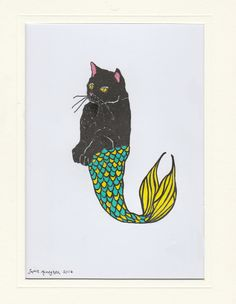 Purrmaid pen and ink drawing by SophieMonaghanArt on Etsy