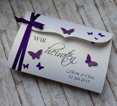 Einladung Hochzeit Schmetterlinge lila