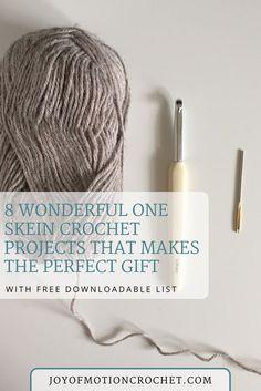 One skein Crochet Patterns. Easy one skein crochet patterns. Left over yarn crochet patterns. Scrap yarn crochet ideas. One skein crochet projects. #scrapyarncrochet #scarpyarncrochetpatterns#oneskeincrochetpattern #oneskein #crochetpattern #crocheting