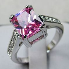 'Size 7,8 Created Pink Sapphire 10K WGF Ring ' is going up for auction at  5pm Sat, Apr 27 with a starting bid of $1.