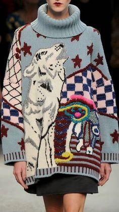Amazing inarsia sweater -- designer unknown
