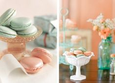 Macarons en cor verde menta e coral