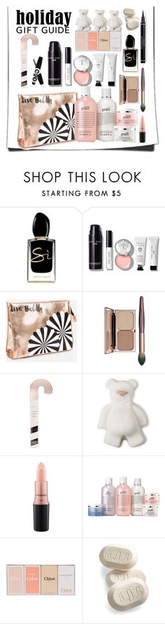 """Gift Guide: Beauty Faves"" by nightowl59 ❤ liked on Polyvore featuring beauty, Giorgio Armani, Bobbi Brown Cosmetics, Ashley Stewart, MAC Cosmetics, Chloé, Frontgate and giftguide"