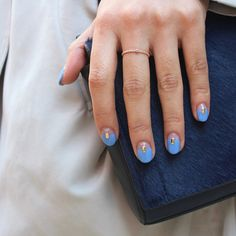 Spring and Summer Wedding Nails: A Clear and Blue Color-Blocked Manicure with a Gold Rhinestone