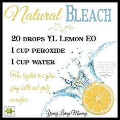 Natural bleach alternative made with hydrogen peroxide and lemon essential oil (Doterra instead) Homemade Cleaning Products, Cleaning Recipes, Natural Cleaning Products, Cleaning Tips, Cleaning Solutions, Household Products, Natural Products, Green Cleaning, Cleaning Supplies