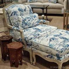 Essence of Elegance: Blue Toile de Jouy Dressed Chair | The Decorating Diva, LLC