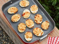 Smoky Grilled Deviled Eggs by Food Network Kitchen Appetizer Dips, Appetizer Recipes, Delicious Appetizers, Egg Recipes, Cooking Recipes, Sushi Recipes, Party Recipes, Party Snacks, Kitchen Recipes