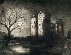 Will Vaughan Nunney Castle, Somerset, etching, 2008