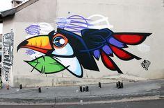 GARU  .. 'Tucano' ..  [Brazil 2015] Graffiti Drawing, Wall Drawing, Cool Art Drawings, Art Sketches, Murals Street Art, Street Art Graffiti, Watercolor Pencil Art, Graffiti Designs, Graffiti Characters