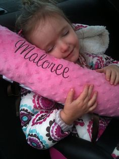 personalized embroidered car seat pillow boy and girl designs
