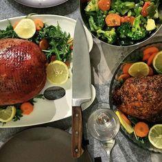 Death by Ham and Turkey. #food #foodie #knives #birthdays #hams #turkey #garnish #celebrations #friends