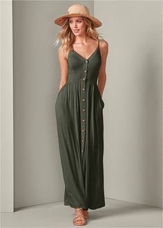 Olive Green Button Front Maxi Dress With Pockets and Adjustable Spaghetti Straps. This classic olive green maxi dress features front pockets, button up front and adjustable spaghetti straps. Love an olive green maxi dress. Olive Green Dresses, Green Maxi, Green Dress Casual, White Maxi Dresses, Maxi Dress With Sleeves, Floral Maxi Dress, Day Dresses, Summer Dresses, Formal Dress Shops