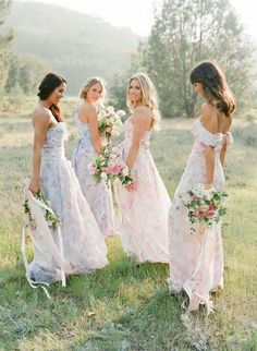 pastel printed bridesmaid dresses
