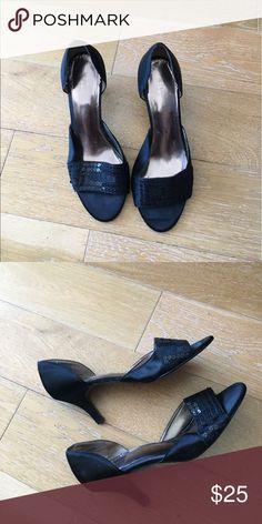 Black Liz Claiborne Peep Toe Heels Black fabric upper, 3 inch heel. Very comfortable, worn a few times. Liz Claiborne Shoes Heels