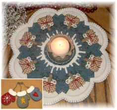 Snow Babies penny rug/candle mat E-pattern