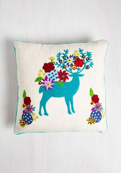 Deer And Now Pillow. Relax and relish in mellow moments side by side with this embroidered pillow by Karma Living. #multi #modcloth