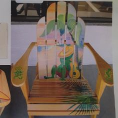 Tropical series of artwork on mailboxes and Adirondack chairs. Chairs for sale locally in Bridgman, MI , custom orders available for pick up only.