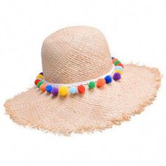 Sun Hats for Women New Rainbow pom pom trim Natural Raffia Woven straw Wide  brim Kentucky derby floppy beach sun hat 93986f1091be