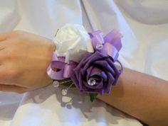 Wrist corsage, Wedding flowers. Purple & White Roses, Diamanté Detail.