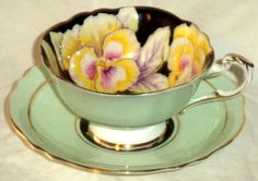 Paragon Footed Cup & Saucer Mint Green Black Center Orchid Flower S6600 England