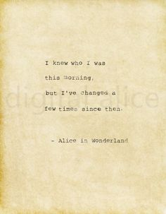 Best Words Quotes  Writing Prompts Images In   Words  Vintage Typewriter Print Alice In Wonderland Quote Printable Quote I Knew  Who I Was
