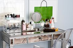 Vanity desk with beautiful display of makeup and accessories!