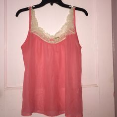 Sheer pink top Lace around neckline and straps size medium Lily White Tops Tank Tops