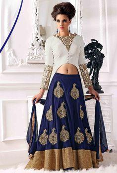 USD 53.84 Navy Blue Bhagalpuri Silk Indo Western Lehenga Choli 56077
