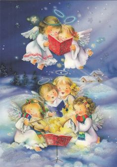 New single Christmas card, angels, singing, cute | eBay