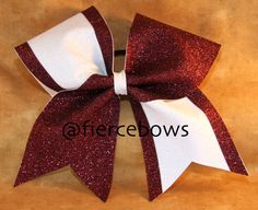 Maroon and White Glitter Cheer Bow by MyFierceBows on Etsy