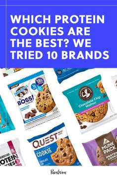 We sampled 10 protein cookies, taking note of their overall taste, protein content and how they affected our cravings. #protein #cookie Peanut Butter Cream Pie, Peanut Butter Cookies, Cooking Chocolate, Flourless Chocolate Cakes, Protein Cookies, Protein Snacks, Clean Eating Desserts, Healthy Desserts, Homemade Trail Mix