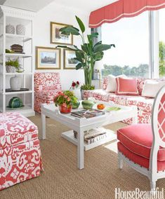Quadrille Island Ikat Fabric On Seating Palm Beach Living Room By T Keller Donovan Image Courtesy Of House Beautiful