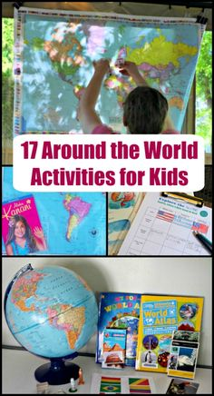 17 Around the World Activities for a DIY Summer Camp TONS of fun ideas for an Around the World theme – map activities, books about different cultures, printables, music and more fun ways to learn about people and places from across the globe! Diversity Activities, Map Activities, History Activities, Kids Learning Activities, Kindergarten Activities, Culture Activities, Summer Activities, Around The World Crafts For Kids, Around The World Theme