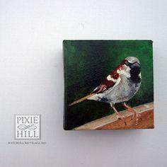 Sparrow - 4x4 Acrylic on Canvas - Nichola Battilana
