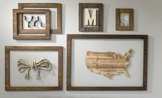 Classic Rustic open back wall frames create interest around special mementos…